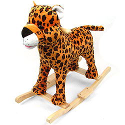 Cheetah Plush Rocking Animal Rocker With Animal Sounds by