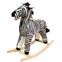 Zebra Soft Plush Rocking Animal Rocker With Solid Wood Base by