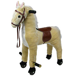 Walking Horse Soft Plush Rocking Animal Rocker With Wheels And Foot Rest by