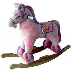 Full Size Plush Pink Pony Rocking Horse With Animal Sound by