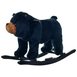 Plush Rocking Wild Black Bear Animal Rocker With Growling Sounds