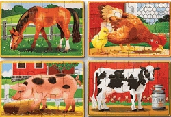 4 Jigsaws In A Box Farm Animals Wooden Jigsaw Puzzles Set by Melissa And Doug