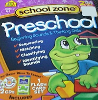 On-track Preschool Beginning Sounds & Thinking Skills Deluxe Edition Cds/flash Cards Software Box Set School Zone