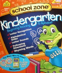 On-track Kindergarten Beginning Reading & Alphabet Deluxe Edition Cds/flash Card Software Box Set by School Zone